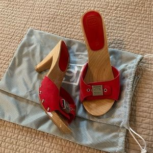 CHANEL suede mules red and wood grain